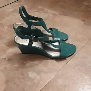 Teal Wedged Heels with Open Toe Size 7